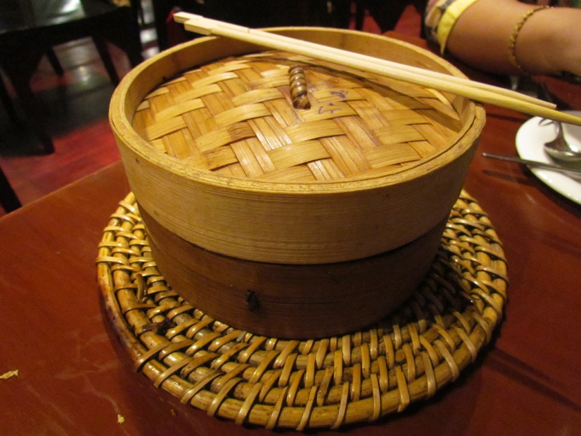dimsums served in these baskets.