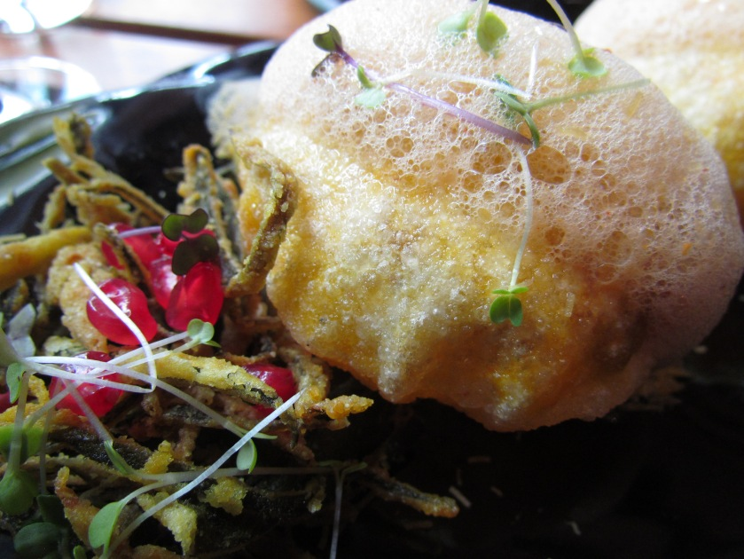 Mini raj kachoris with crisp okra and foam reduction