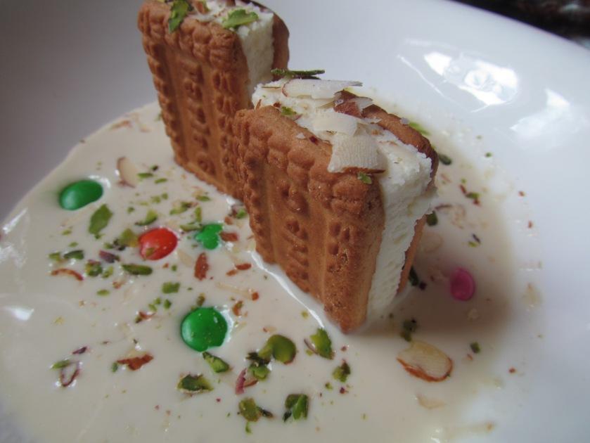 Parle g cheesecake with saffron rabri