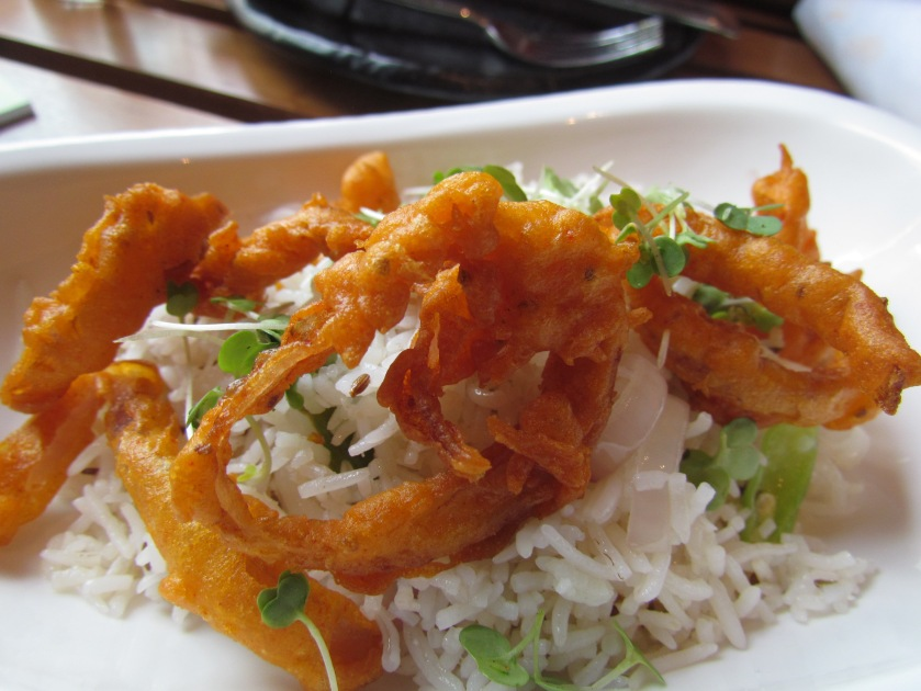 ghee pulao and onion rings  with  Rajasthani kadhi