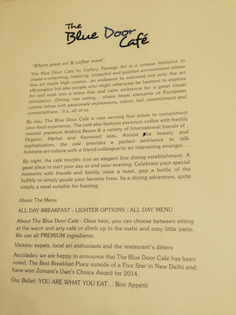 interesting read about the restaurant - on the menu card