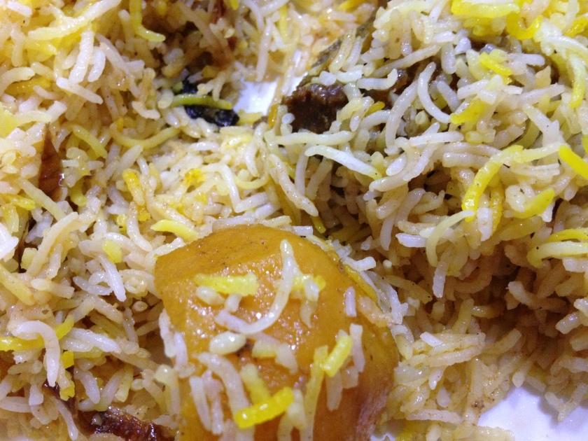 Mutton biryani  closeup with aloo & meat