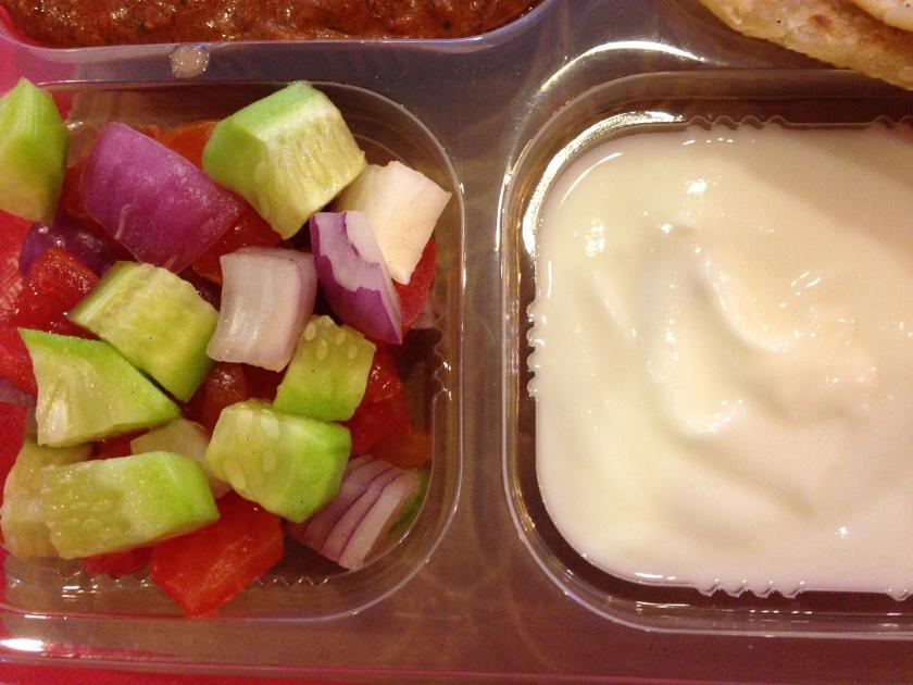 dahi & salad with egg tikka masala