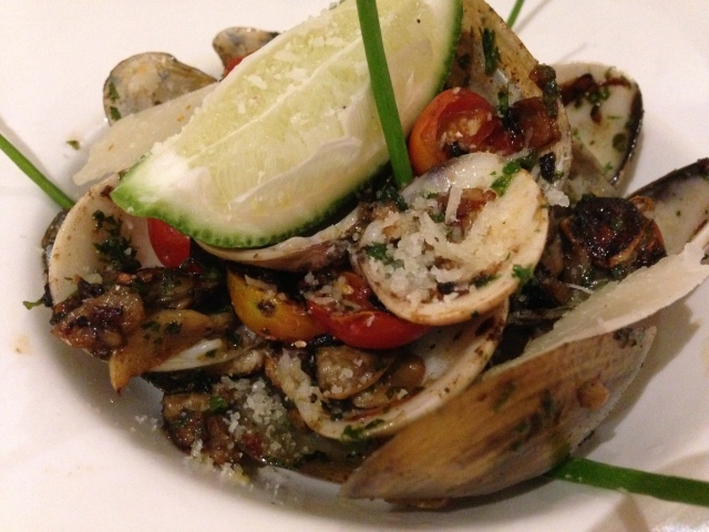 Bay of Bengal's Black mussels and clams tossed in brown garlic & vino bianco cherry tomato sauce