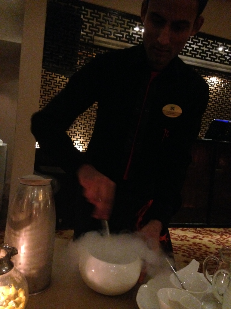 creating the ice cream in front of us - at the table