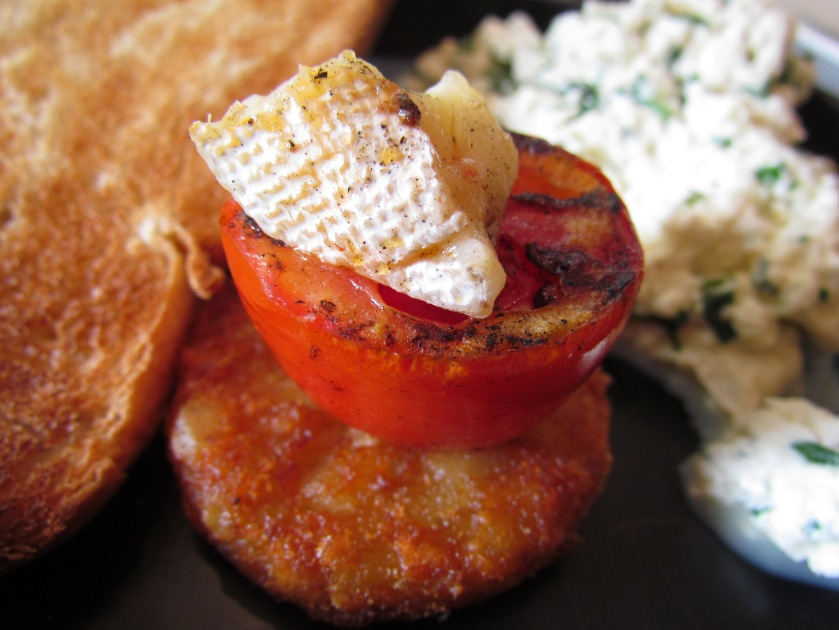 grilled tomato with grilled cheese
