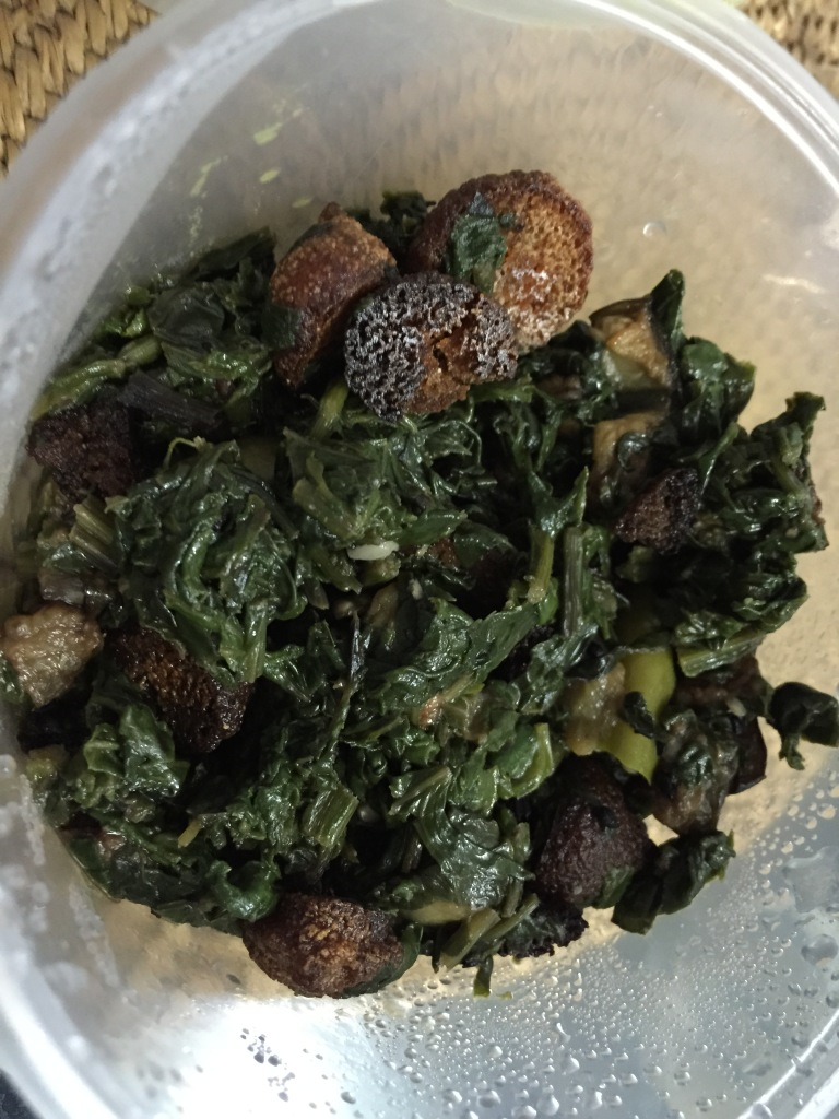 Spinach with begun (aubergine) and bori (dried dal dumplings)