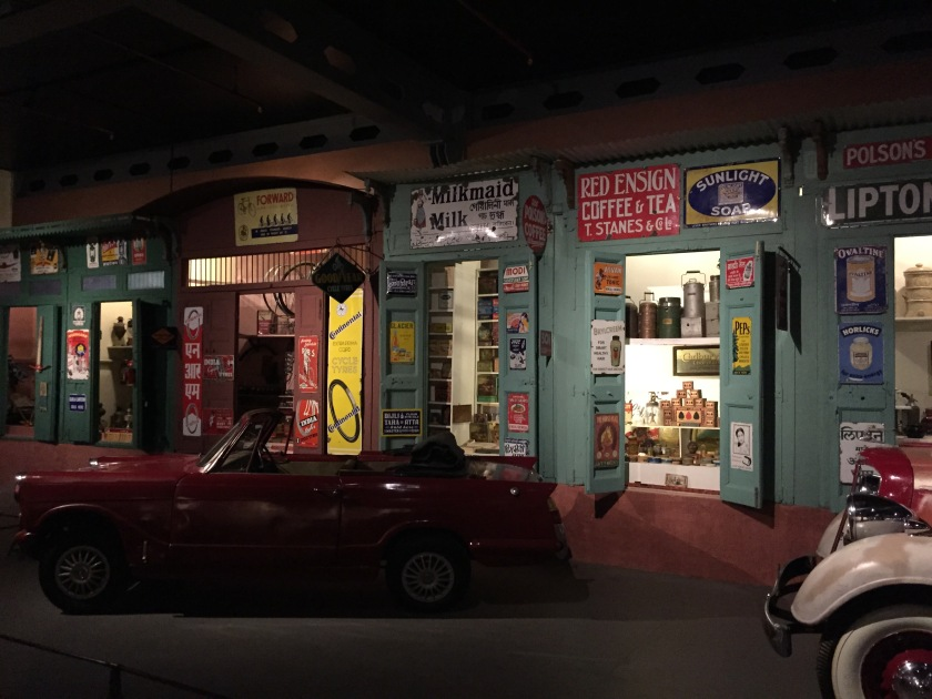 A car display area made to look like a real street.