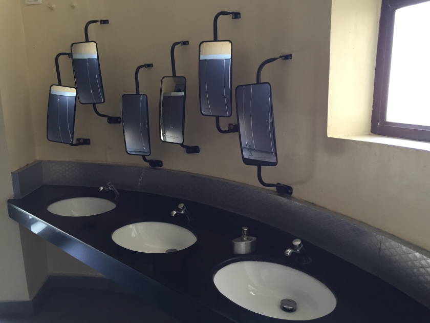 The loo had truck 'looking glass' in place of mirrors