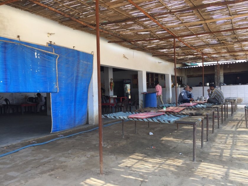 A view of the closed dining hall from the open air eating area