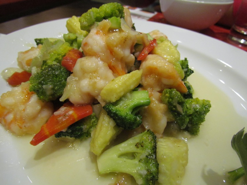 Prawn brocolli white garlic