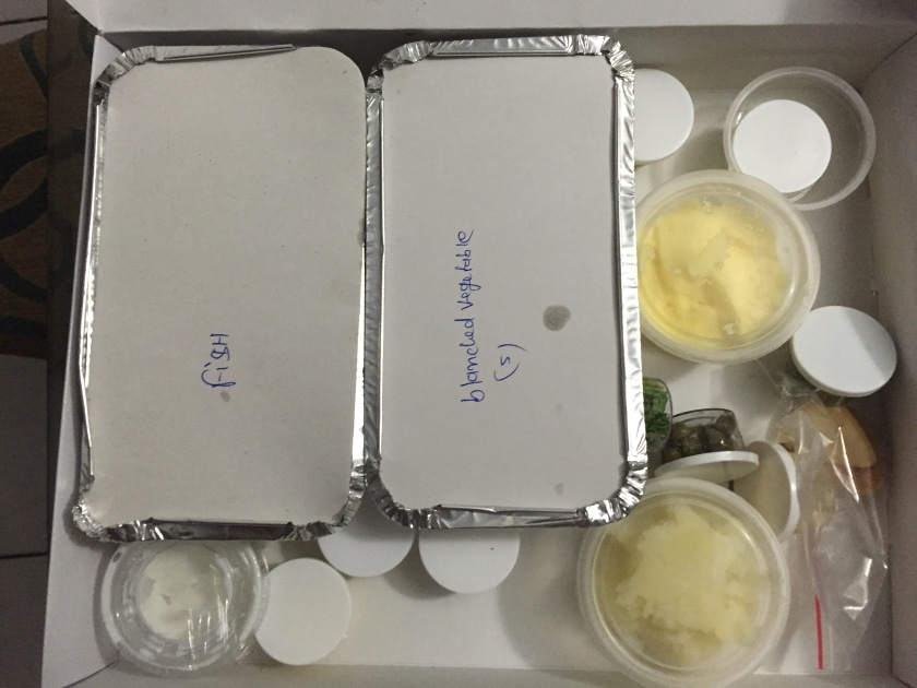 ingredients for Ledeberg river sole fish, sautéed vegetables and mashed potatoes