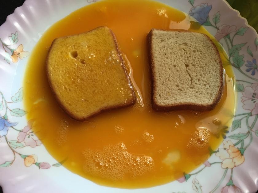 Soak the bread in beaten eggs