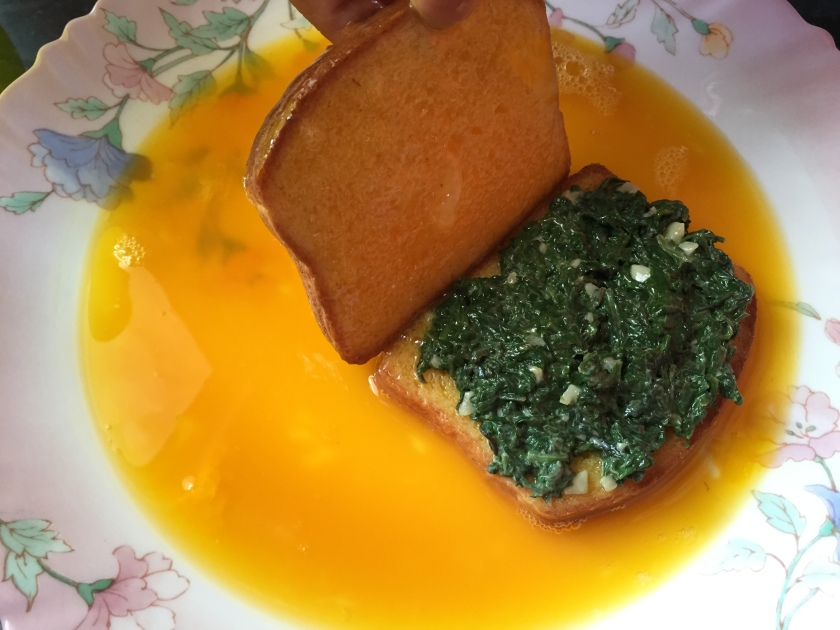 spinach mix on one bread and top it up with another