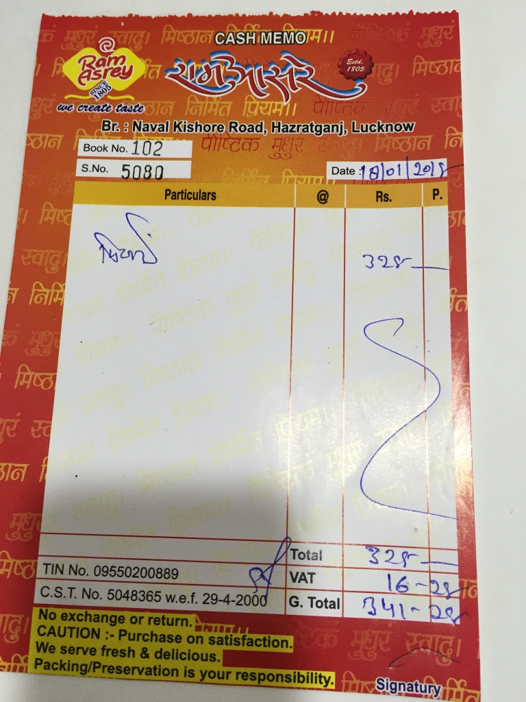 bill - proof of payment. this is for 1 box of laddoo & single pieces of few sweets