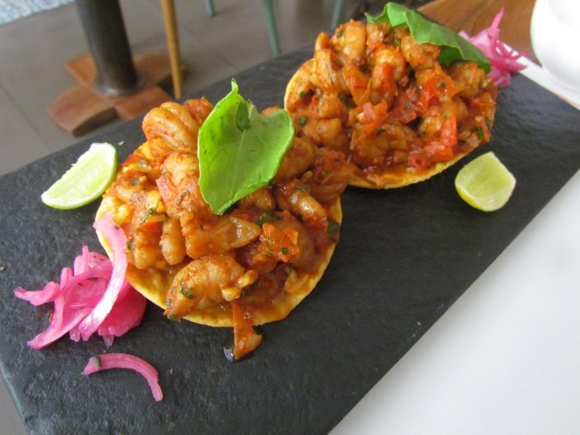 Camaron salteado shrimp with salsa Mexicana and chipotle mayonnaise