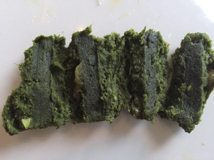 peep inside Spinach and walnut seekh