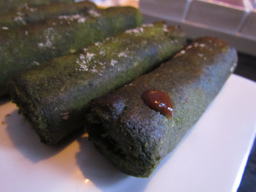 Spinach and walnut seekh