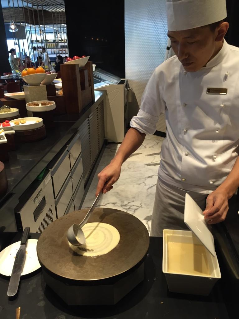 Chef preparing crepes fresh