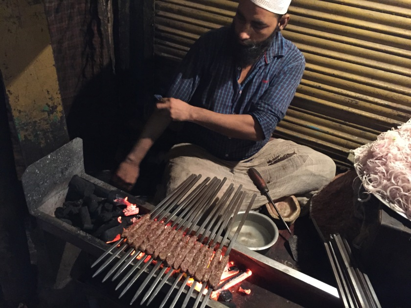 kababs being made