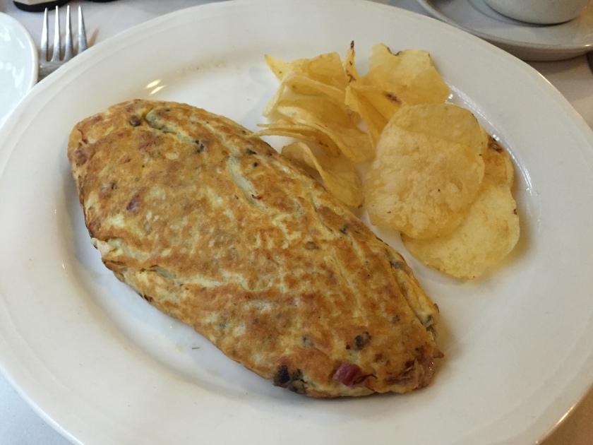 Stuffed omelet with ham and mushroom