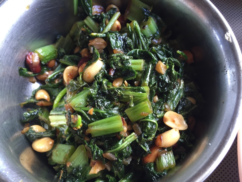 Suateed mustard greens with peanuts