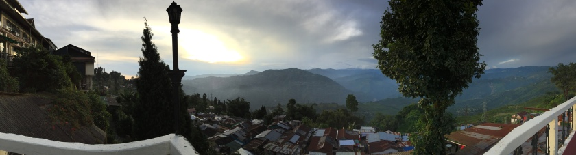 Panoramic view from the Hotel. We saw Kanchenjunga from here as well