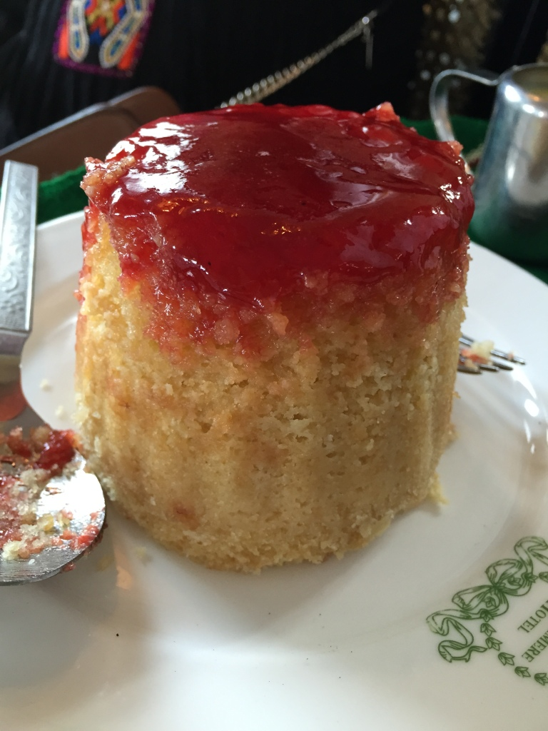 steamed jam pudding with custard - the full cake