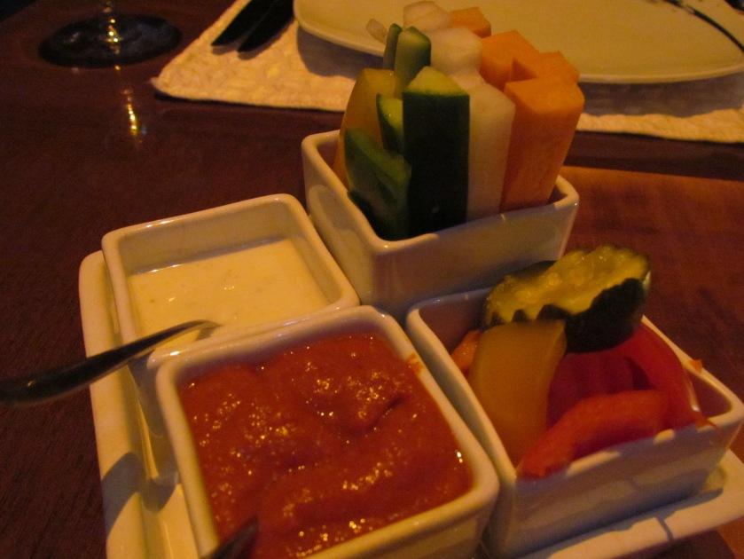 Dip with freshly cut raw salad veggies