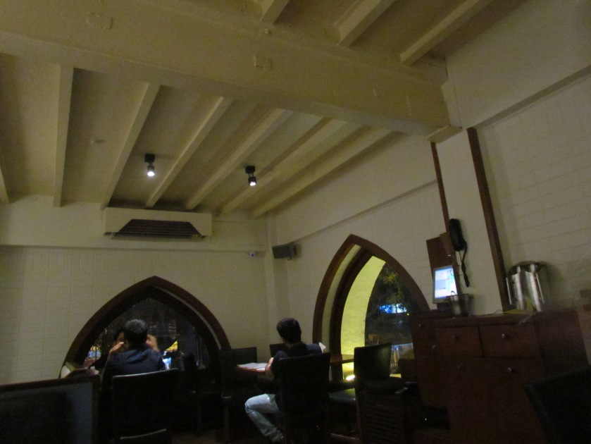 arched windows & ceiling with beams