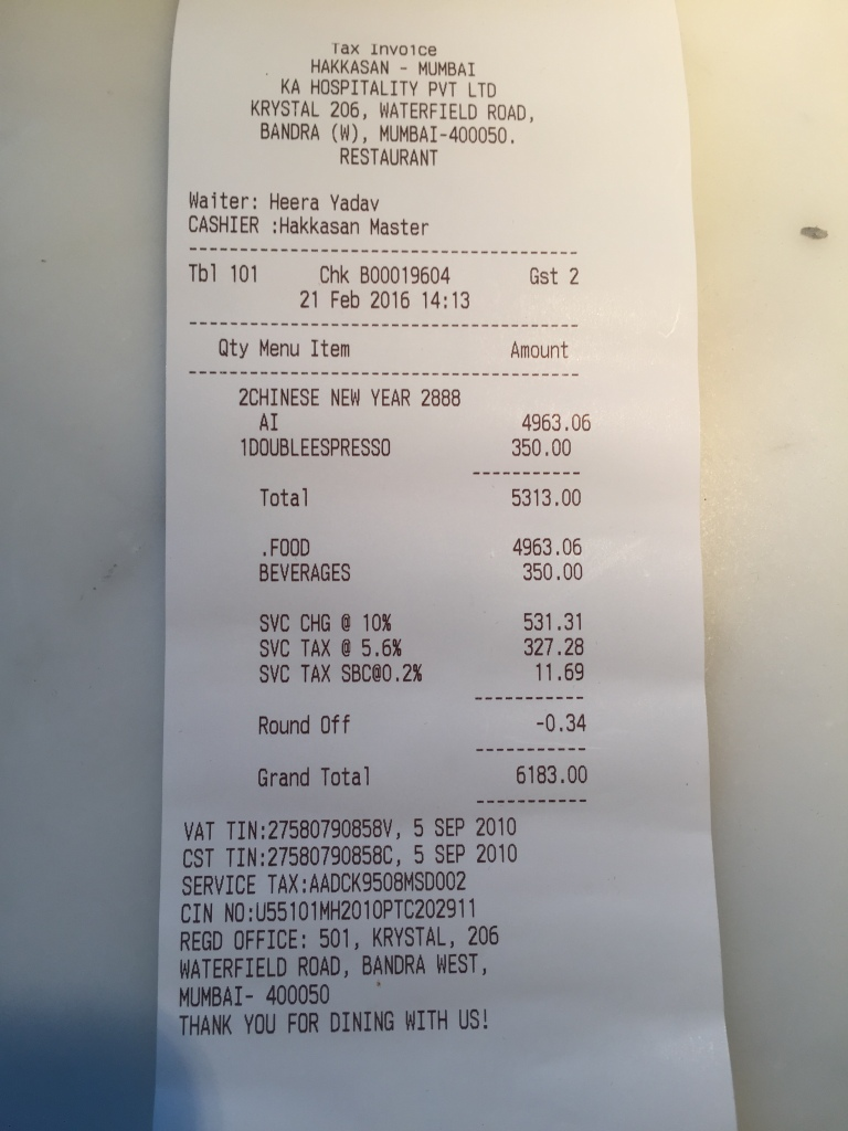 bill - proof of payment