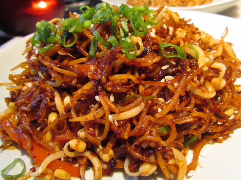 Stir fried ramen in spicy sauce