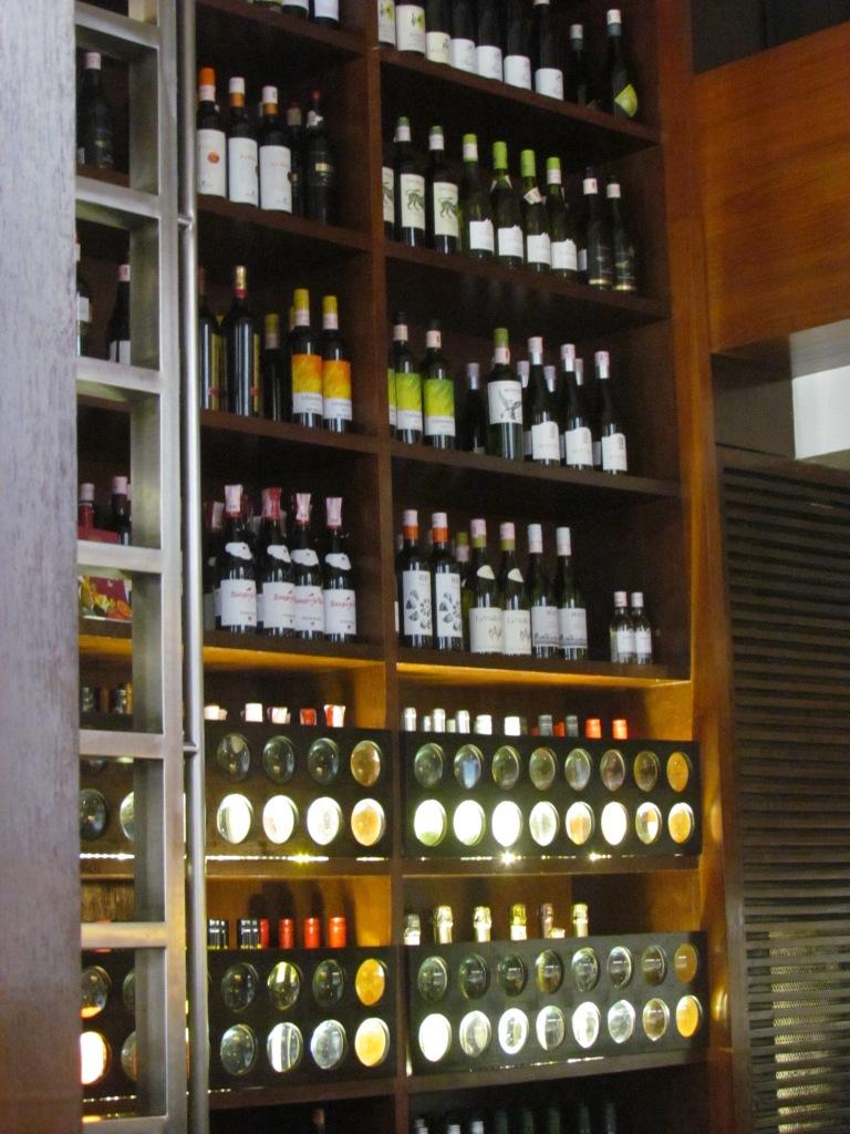 rack of wine bottles
