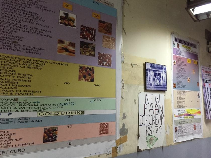 menu card on the wall