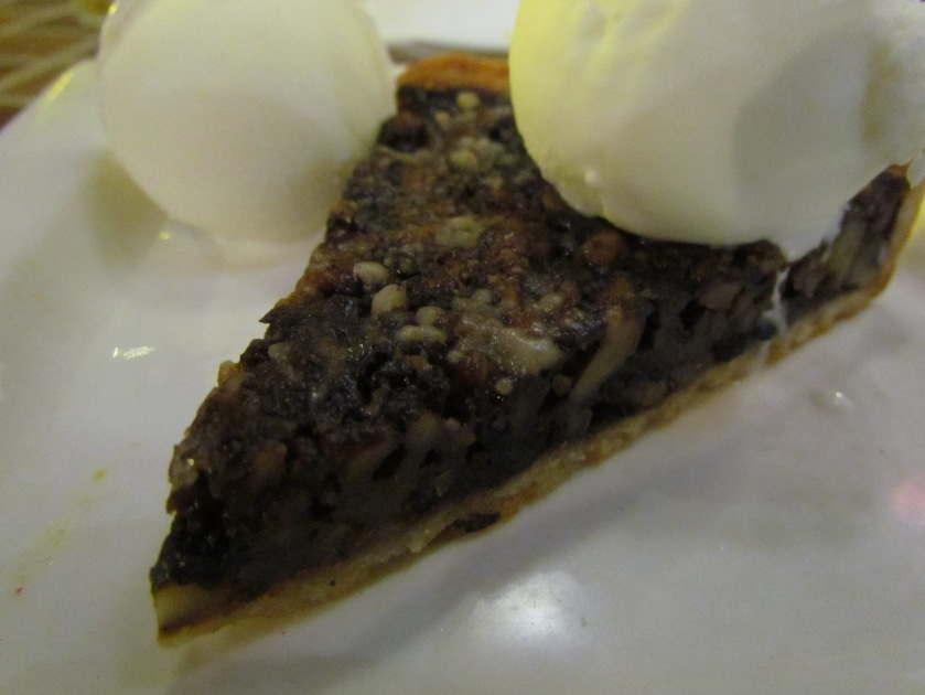 Chocolate walnut tart with ice cream