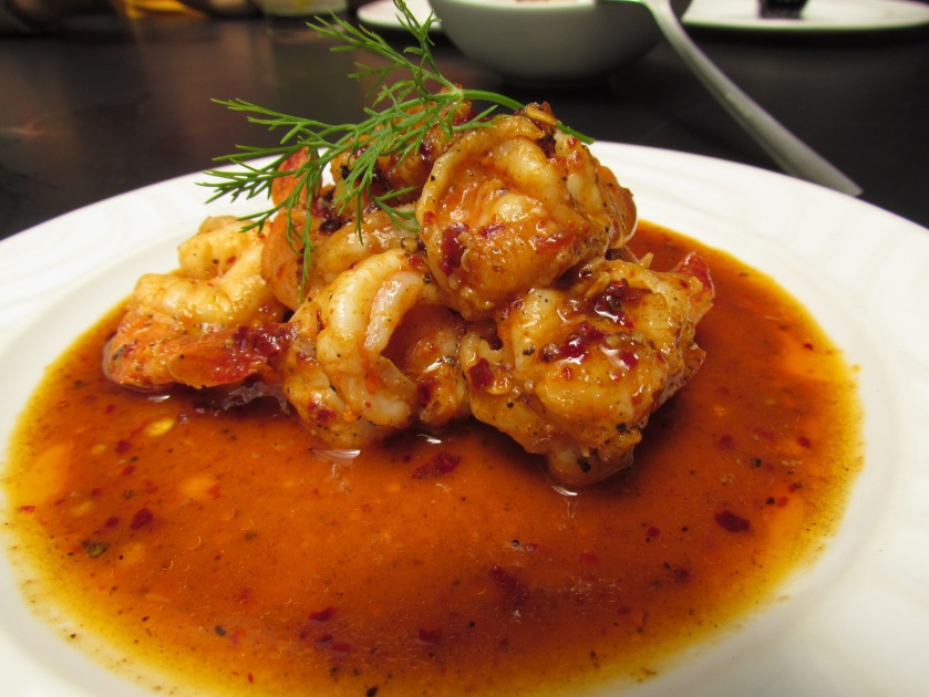 Spicy prawn in port wine