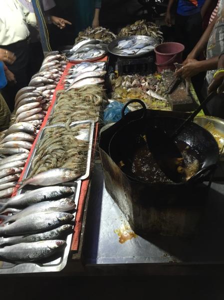 raw seafood on display